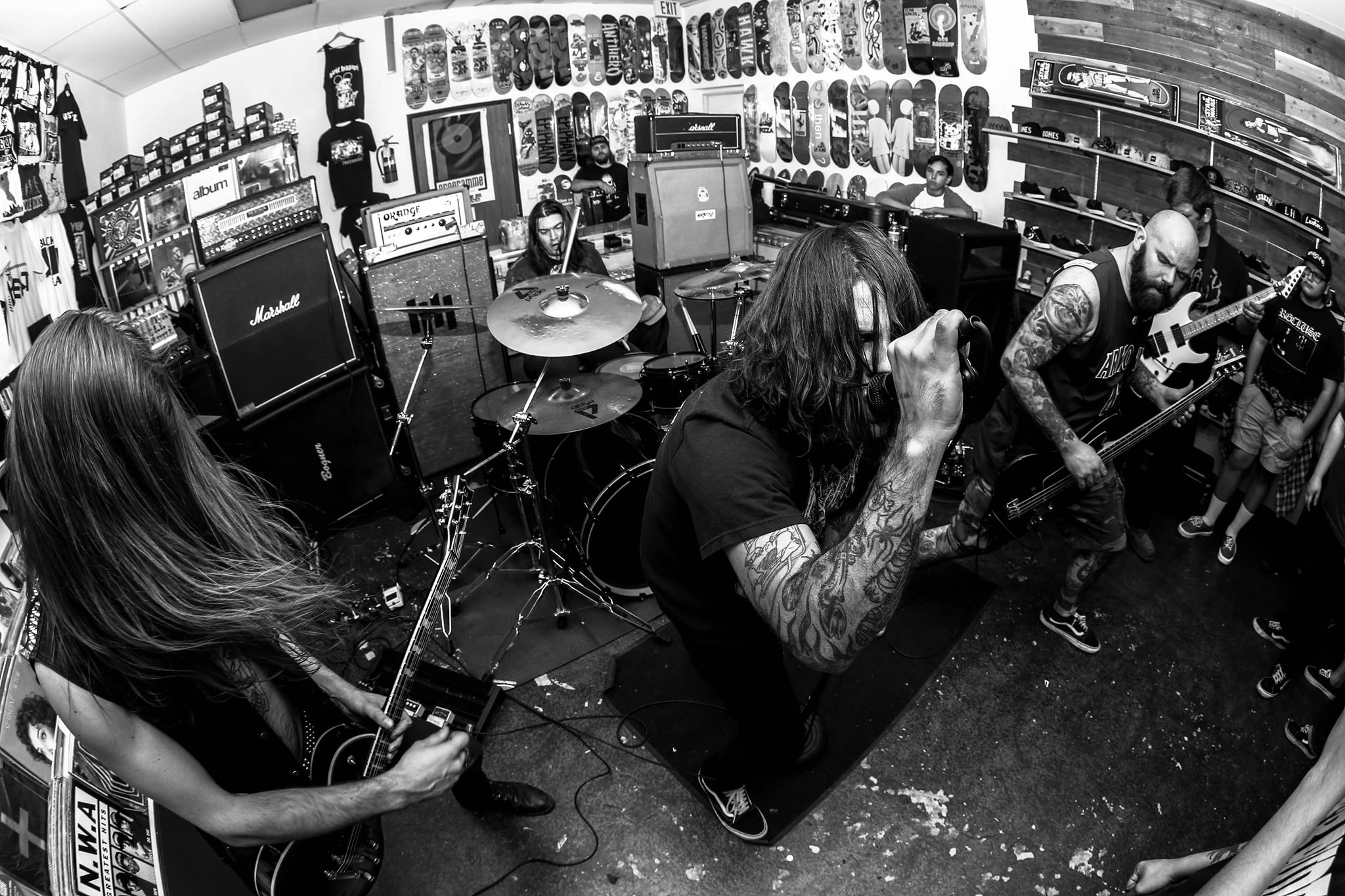 Gatecreeper playing at Programme Skate & Sound (Fullerton, CA), which serves as a venue, record store, & skate shop.